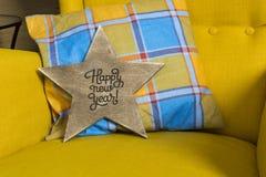 Étoile en bois avec une inscription Image stock
