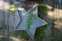 Étoile en bois sur une table avec des usines et des bourgeons des roses Image stock