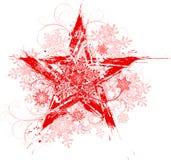 Étoile grunge et flocons de neige Photo stock