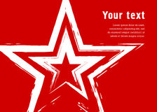 Étoile grunge sur un fond rouge Simule le dessin avec une brosse sèche Photos stock