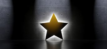 Étoile jaune dans l'intérieur avec la lumière molle Photos libres de droits