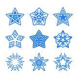 Étoile Logo Template Set Symboles ornementaux géométriques bleus de vecteur d'isolement Signes décoratifs et créatifs bleus d'aff Illustration de Vecteur
