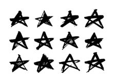 Étoile Objet tiré par la main de peinture pour l'usage de conception Dessin de brosse abstrait Étoile grunge d'illustration d'art illustration de vecteur