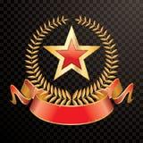 Étoile rouge de bannière de laurier illustration stock