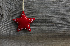 Étoile rouge de tissu de décoration de Joyeux Noël Image stock