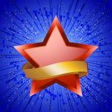 Étoile rouge et bannière d'or sur l'éclat d'étoile bleue illustration libre de droits