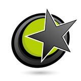 Étoile sur le cercle vert et noir illustration stock