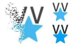 Étoile tramée endommagée Victory Award Icon de Pixelated illustration de vecteur