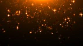 Étoiles éclatantes d'or sur le noir, beaucoup de particules, contexte de célébration du rendu 3d banque de vidéos