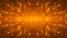 Étoiles éclatantes d'or sur le noir, beaucoup de particules, contexte de célébration du rendu 3d clips vidéos