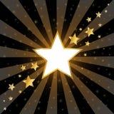 Étoiles abstraites d'or sur le fond foncé Photo stock