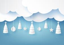 Étoiles, arbres de Noël et boule de Noël accrochant sur le fond de saison d'hiver de ciel bleu illustration stock