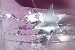 Étoiles argentées au-dessus de lilas Photographie stock