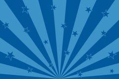 Étoiles bleues avec les lignes abstraites fond de rayons radiaux illustration de vecteur