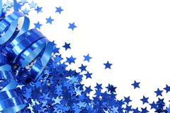 étoiles bleues de confettis Photographie stock