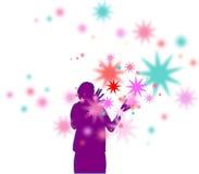 Étoiles colorées de exécution de magicien illustration stock
