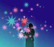 Étoiles colorées de exécution de magicien illustration libre de droits