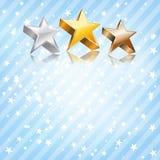 Étoiles d'or, argentées et en bronze illustration stock