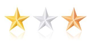 Étoiles d'argent et de bronze d'or Images stock