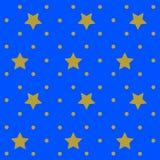 Étoiles d'or avec le fond bleu de modèle de répétition illustration libre de droits