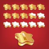 Étoiles d'or de notation Photographie stock libre de droits