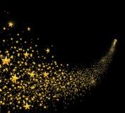 Étoiles d'or en baisse, étoile filante de la poussière avec la traînée arrondie d'isolement sur le noir Photos libres de droits