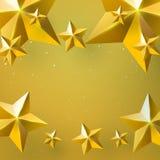 Étoiles d'or sur le fond d'or avec le concept de Noël illustration stock