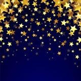Étoiles d'or sur le fond foncé Image libre de droits