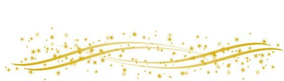 Étoiles d'or sur les rubans d'or incurvés Photographie stock libre de droits