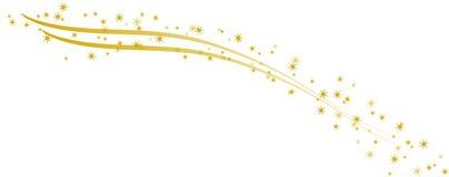 Étoiles d'or sur les rubans d'or incurvés Photos stock