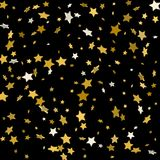 Étoiles d'or sur un fond noir Illustration de vecteur Images libres de droits