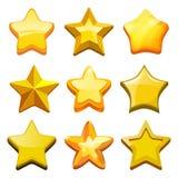 Étoiles de bande dessinée de jeu Le GUI d'or en cristal boutonne les icônes et le calibre mobile de jeu de vecteur de barre de st illustration de vecteur