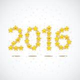 Étoiles de jaune sous forme de numéros 2016 Photos libres de droits