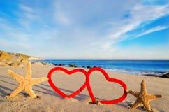 Étoiles de mer avec des coeurs sur la plage sablonneuse Image stock