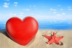 Étoiles de mer avec le coeur Images libres de droits