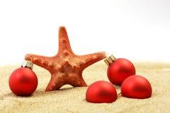 Étoiles de mer avec Noël rouge sur la plage sablonneuse Photo stock