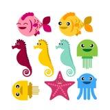 Étoiles de mer colorées de méduses de poissons d'hippocampe Image libre de droits