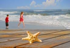 Étoiles de mer et gosses à côté d'océan Image stock