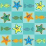 Étoiles de mer et poissons de dessin animé Photo libre de droits