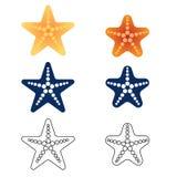 Étoiles de mer réglées sur un fond blanc Vecteur illustration libre de droits
