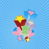 Étoiles de réception avec le fond bleu. illustration de vecteur