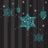 Étoiles de scintillement et carte de Dreidels Hanukkah illustration de vecteur