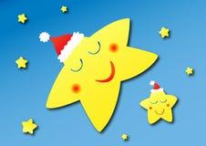 Étoiles de sommeil avec des chapeaux de Noël Photographie stock libre de droits