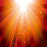 Étoiles descendant sur l'éclat de lumière orange illustration libre de droits