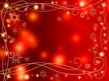 Étoiles et flocons de neige d'or de Noël 3d Photos stock