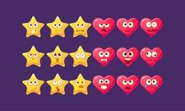 Étoiles et jeu de caractères d'Emoji de coeurs Photo stock