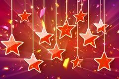 Étoiles et lumières s'arrêtantes rouges de bokeh Images libres de droits