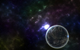 Étoiles et planète la nuit photographie stock