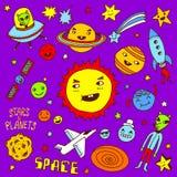Étoiles et planètes Positionnement de griffonnage illustration libre de droits