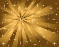 Étoiles et rayons de fond d'or illustration de vecteur